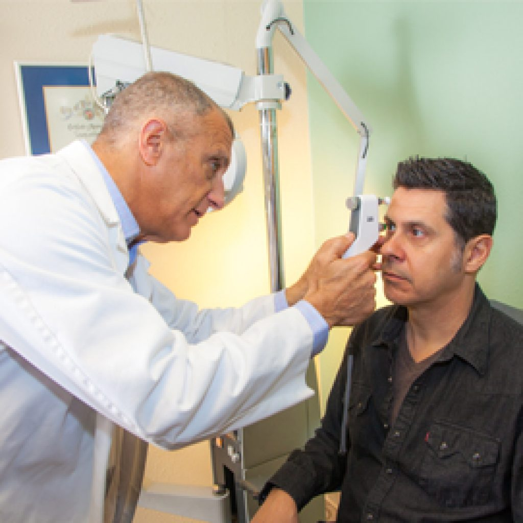 Dr. Leonard Performs an Eye Exam for Patient Suffering from Dry Eyes